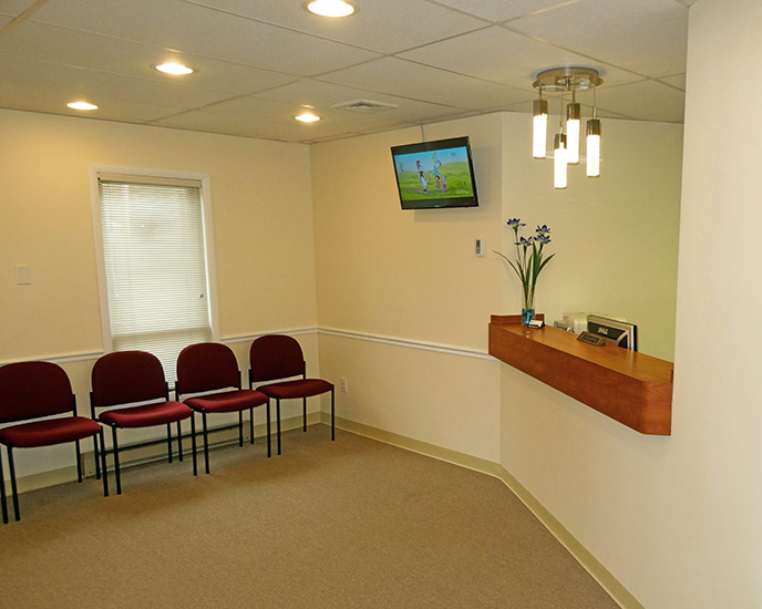 Inside Holmdel, NJ office waiting room